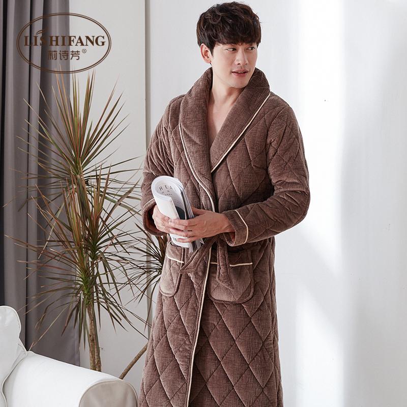 Nightgown / bathrobe Li Shifang male 165(M)170(L)175(XL)180(XXL)185(XXXL) P5086 brown p5086 gray p5104 blue p5120 thickening luxurious Polyester (polyester) winter More than 95% Long (below Mid Calf) Coral wool with cotton Solid color middle age P5086Z One piece Winter 2017 Polyester 100%
