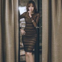 Dress Winter of 2018 black S M L Middle-skirt singleton  Long sleeves commute Crew neck High waist Solid color zipper One pace skirt other Others 30-34 years old Flying all over the sky Korean version Gauze M1801112 More than 95% polyester fiber Polyester 95% polyurethane elastic fiber (spandex) 5%