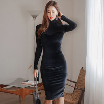 Dress Spring of 2019 black S M L XL Mid length dress singleton  Long sleeves commute High collar High waist Solid color zipper One pace skirt routine Others 30-34 years old Flying all over the sky Korean version Splicing More than 95% corduroy polyester fiber Pure e-commerce (online only)