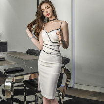 Dress Summer of 2019 white S M L Mid length dress singleton  Sleeveless commute other High waist Solid color zipper One pace skirt other camisole 30-34 years old Flying all over the sky Korean version Splicing More than 95% polyester fiber Polyester 95% polyurethane elastic fiber (spandex) 5%