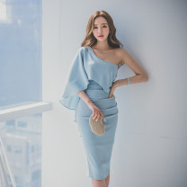 Dress Summer 2020 Picture color S M L Mid length dress singleton  Short sleeve commute Slant collar High waist Solid color zipper One pace skirt other Others 30-34 years old Flying all over the sky Korean version backless M202027 More than 95% polyester fiber Pure e-commerce (online only)
