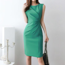 Dress Summer 2020 Green black S M L XL Middle-skirt singleton  Sleeveless commute Crew neck High waist Solid color zipper One pace skirt other Others 30-34 years old Flying all over the sky Korean version fold More than 95% polyester fiber Polyester 95% polyurethane elastic fiber (spandex) 5%
