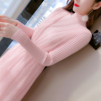 Dress Spring 2021 Apricot, pink S,M,L,XL longuette Two piece set Long sleeves commute High collar middle-waisted Solid color Socket Big swing routine Others Korean version 31% (inclusive) - 50% (inclusive)