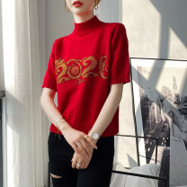 sweater Spring 2021 Average size 7911 #, 7912 #, 7913 #, 7914 #, 7915 #, collect and pay attention, have the chance to get 2 yuan red envelope, and cut the price by 49.8 per second Short sleeve Socket singleton  Super short other 95% and above Half high collar Thin money commute routine Heavy wool