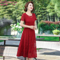 Dress Summer 2020 Navy Red L XL 2XL 3XL 4XL Mid length dress singleton  Short sleeve commute stand collar middle-waisted Solid color Socket Big swing routine Others 40-49 years old Type A Daizermery / Dai Zimei lady 81% (inclusive) - 90% (inclusive) Lace nylon