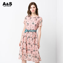 Dress Spring 2020 237 Morandi powder 2/S 3/M 4/L 5/XL 6/2XL Mid length dress singleton  Short sleeve commute Crew neck middle-waisted Decor Single breasted other other Others 30-34 years old A & S / an Xiu lady Cut out lace E910838 More than 95% nylon Polyamide fiber (nylon) 100%