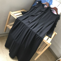 Dress Spring 2021 Black dress S,M,L,XL Mid length dress singleton  Long sleeves commute Crew neck Loose waist Solid color routine Others 18-24 years old Type A Korean version SG710596 30% and below other other