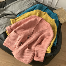 sweater Spring 2021 Average size Yellow, blue, pink Long sleeves Cardigan singleton  Regular other 30% and below V-neck Regular commute routine Solid color Straight cylinder Regular wool Keep warm and warm 18-24 years old CG414919 Button Single breasted