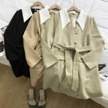 Dress Autumn of 2019 Black, green, dark apricot M, L Middle-skirt singleton  Long sleeves commute V-neck High waist Solid color other routine Others 18-24 years old Other / other Korean version KCXY900507 30% and below