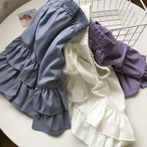 skirt Autumn 2020 Average size Purple skirt, blue skirt, white skirt Short skirt commute High waist Cake skirt Solid color Type A 18-24 years old FG412172 30% and below Chiffon Lotus leaf edge