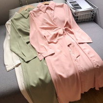 Dress Spring 2021 Apricot dress, pink dress, green dress Average size longuette singleton  commute other Elastic waist Solid color other other routine Others 18-24 years old Type A FG158568 30% and below other other