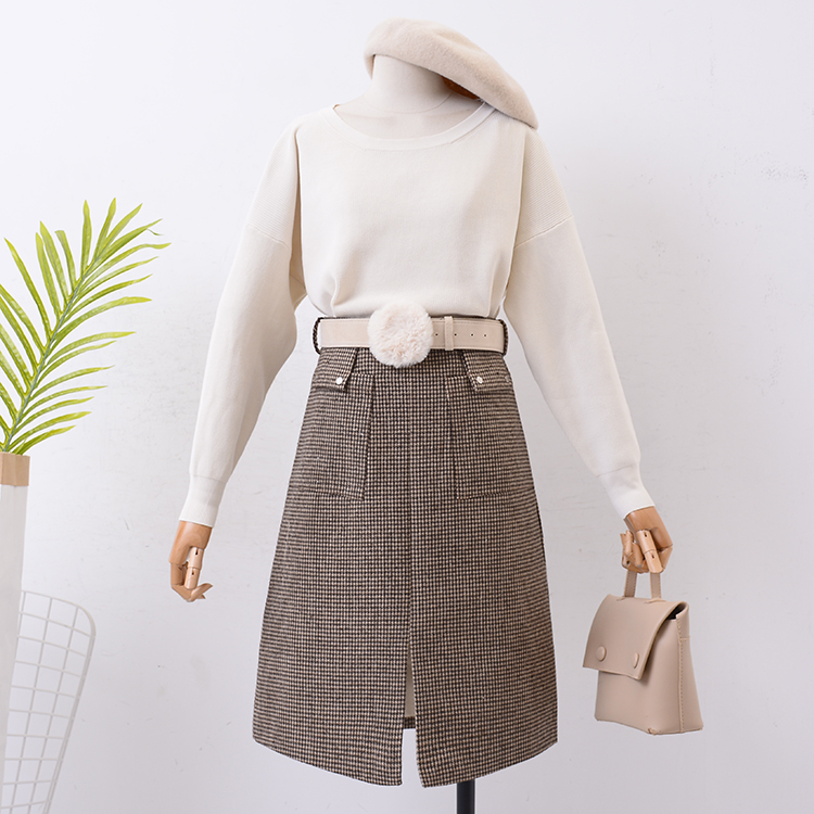 skirt Autumn of 2018 S M Red coffee Retro High waist skirt lattice Type A 18-24 years old SG125487 30% and below