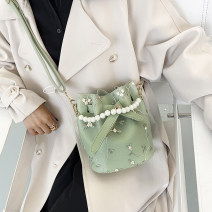 Bag Inclined shoulder bag PU Bucket bag Honey cat White, pink, green, black brand new Japan and South Korea Small leisure time soft Strip extraction no Solid color Single root Straddle shoulder nothing youth Bucket shaped Soft handle polyester fiber soft surface
