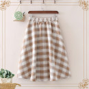 skirt Spring 2021 Average size Khaki, grey Mid length dress Versatile High waist A-line skirt lattice Type A 18-24 years old 81% (inclusive) - 90% (inclusive) other cotton