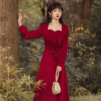 Dress Winter 2020 claret S,M,L Mid length dress singleton  Long sleeves commute square neck High waist Solid color other Big swing other 18-24 years old Type A Retro 71% (inclusive) - 80% (inclusive)