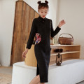 cheongsam Autumn 2020 S,M,L,XL dark grey Long sleeves Single cheongsam Retro Low slit daily Oblique lapel Solid color 18-25 years old Embroidery 71% (inclusive) - 80% (inclusive)