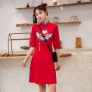 cheongsam Spring 2021 S,M,L,XL China Red three quarter sleeve Short cheongsam Retro Low slit daily Oblique lapel Animal design 18-25 years old Piping 71% (inclusive) - 80% (inclusive)