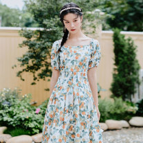 Dress Summer 2020 Decor S,M,L Mid length dress singleton  Short sleeve commute square neck High waist Socket Big swing Others 18-24 years old Type X lady 71% (inclusive) - 80% (inclusive)