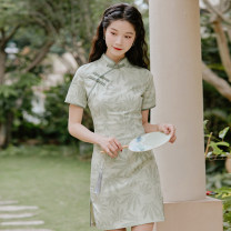 cheongsam Summer 2020 M,L,XL Light green Short sleeve Short cheongsam Retro Low slit daily Oblique lapel 18-25 years old Piping 71% (inclusive) - 80% (inclusive)