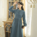 cheongsam Autumn 2020 S,M,L,XL Blue, apricot Long sleeves Qipao Retro No slits daily Straight front Solid color 18-25 years old Piping 71% (inclusive) - 80% (inclusive)