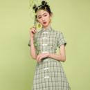 cheongsam Summer 2020 S,M,L,XL Green lattice Short sleeve Short cheongsam Retro No slits daily Straight front lattice 18-25 years old Piping 71% (inclusive) - 80% (inclusive)