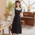 Dress Winter 2020 Black, brown S,M,L Mid length dress Fake two pieces Long sleeves commute Crew neck High waist Solid color Socket A-line skirt other 18-24 years old Type A Retro 71% (inclusive) - 80% (inclusive)