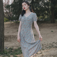 Dress Summer 2020 Broken flowers S,M,L longuette singleton  Short sleeve V-neck High waist Broken flowers Socket A-line skirt puff sleeve Others 18-24 years old Type X 71% (inclusive) - 80% (inclusive)