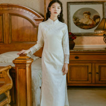 cheongsam Autumn 2020 S,M,L Rice white gold Long sleeves Single cheongsam Retro High slit daily Oblique lapel Solid color 18-25 years old Piping 71% (inclusive) - 80% (inclusive)