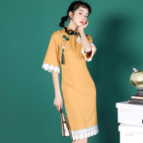 cheongsam Autumn 2020 S,M,L,XL yellow three quarter sleeve Retro Low slit daily Oblique lapel 18-25 years old Piping 71% (inclusive) - 80% (inclusive)