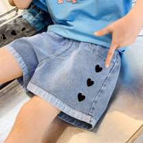 trousers Other / other female summer shorts Korean version Jeans There are models in the real shot middle-waisted Leather belt cotton 8hct 21033 love denim shorts Class B 8hct 21033 8 years old Blue, greyish black 120cm,130cm,140cm,150cm,160cm,170cm