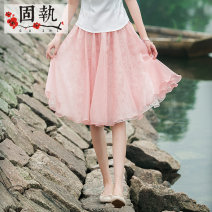 skirt Summer 2021 S M L XL Green pink Short skirt Versatile High waist A-line skirt Solid color Type A 25-29 years old GZ16B1669 More than 95% other Obstinate / obstinate polyester fiber Lace Polyester 100%