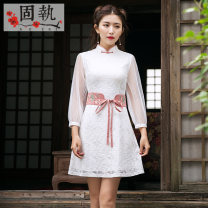 cheongsam Spring of 2018 160/80A/S 165/84A/M 170/88A/L 175/92A/XL white Long sleeves Short cheongsam Retro No slits daily Solid color 25-35 years old Piping GZ18AQP3067 Obstinate / obstinate nylon Polyamide fiber (nylon) 48.2% cotton 27.2% regenerated cellulose 22.8% polyester 1.8%