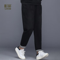 Middle aged and old women's wear Spring of 2019 Denim black reserved 1 L (3) XL (4) 2XL (5) 3XL (6) 4XL (7) leisure time trousers easy singleton  Solid color 50-59 years old moderate ZX19A92319 Zixuan cotton Cotton 61% viscose fiber (viscose fiber) 37% polyurethane elastic fiber (spandex) 2%