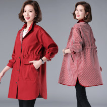 Middle aged and old women's wear Spring 2021 leisure time Windbreaker easy singleton  Solid color 40-49 years old Cardigan thick other Medium length routine Zixuan pocket polyester Polyester 100% 96% and above Single breasted