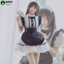 Cosplay women's wear suit goods in stock Over 14 years old Coffee shop Black Maid Dress (white socks for free) L M S XL Cat teacher Chinese Mainland Training Cafe Cafe black maid