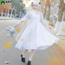 Cosplay women's wear suit goods in stock Over 14 years old Fornix white dress fornix white dress + wig + light gray rabbit doll (hair delivery net) L m s XL average size Cat teacher Japan The space of fate Spring sky QM1052