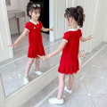 Dress Bkx227 little girl's cotton skirt with chest [red] female Becosin 110cm 120cm 130cm 140cm 150cm 160cm Other 100% summer college Short sleeve Solid color other A-line skirt BKX227 Class B Summer 2020 Chinese Mainland Zhejiang Province Huzhou City