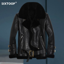 leather clothing six toop Fashion City black 165/M/46 170/L/48 175/XL/50 180/XXL/52 185/XXXL/54 190/XXXXL/56 have cash less than that is registered in the accounts Leather clothes Lapel Diagonal zipper placket winter leisure time youth Sheepskin and wool Autumn of 2018 Pure e-commerce (online only)