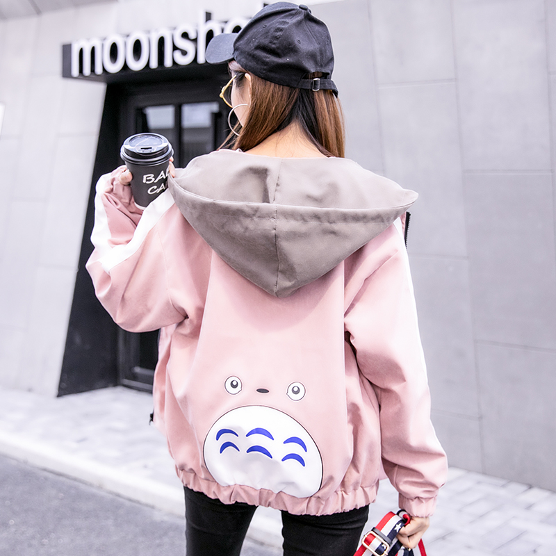 short coat Spring 2018 SML XL 2XL Pink Royal Blue Long sleeve conventional conventional Single Loose conventional sweet Hooded zipper Cartoon anime 18-24 years old twelve million three hundred and twelve thousand three hundred and thirteen Pocket printing 81% (inclusive) -90% (inclusive) LYCRA Lycra