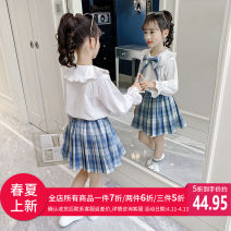 suit Niuniu family Blue Pink 110cm 120cm 130cm 140cm 150cm 160cm female spring and autumn Korean version Long sleeve + skirt 2 pieces routine There are models in the real shooting Socket nothing other other children Learning reward CT660332 Class B Other 100% Spring 2021