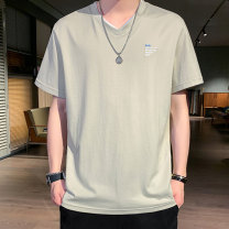 T-shirt Youth fashion 52096 light Khaki 52096 white 52096 pink 52096 black routine M L XL 2XL 3XL 4XL Tkz Short sleeve V-neck easy daily summer TKZ37047 Cotton 62.8% polyurethane elastic fiber (spandex) 37.2% youth routine tide Knitted fabric Summer 2020 Alphanumeric Embroidery cotton washing
