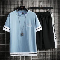 Leisure sports suit summer M L XL 2XL 3XL Short sleeve Tkz Pant youth T-shirt TKZ026057 cotton Summer 2021 Top 100% cotton pants: Cotton 66.9% polyester 28% spandex 5.1%