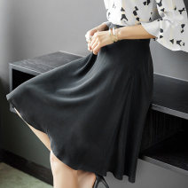 skirt Spring 2020 M L XL black Mid length dress Versatile High waist Umbrella skirt Solid color Type A 30-34 years old BSQ1642 More than 95% Crepe de Chine SILVIYE silk fold Mulberry silk 100% Pure e-commerce (online only)