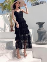 Dress Summer of 2019 black S,M,L longuette singleton  Sleeveless commute V-neck middle-waisted Solid color Socket Cake skirt other camisole Korean version Lace, stitching 71% (inclusive) - 80% (inclusive) Lace other
