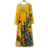 Dress Spring 2020 Green (long sleeve) (high quality fabric), red (long sleeve) (high quality fabric), blue (long sleeve) (high quality fabric), yellow (long sleeve) (high quality fabric) 3XL,M,L,XL,2XL Mid length dress singleton  commute other Loose waist Decor Socket other routine Others Type A
