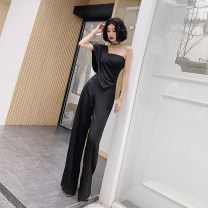 Dress / evening wear Weddings, adulthood parties, company annual meeting, performance date XS S M L XL XXL black grace middle-waisted Winter of 2018 Self cultivation Single shoulder type zipper 26-35 years old Sleeveless Amgam / love beauty Polyester 100% Pure e-commerce (online only) 96% and above