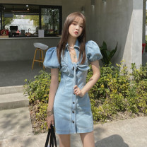 Dress Summer 2021 blue S,M,L Short skirt singleton  Short sleeve commute V-neck High waist Solid color Single breasted A-line skirt routine Others 18-24 years old Type A Korean version Button w3.1 51% (inclusive) - 70% (inclusive) Denim other