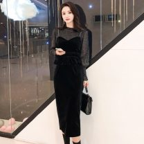 Dress Autumn 2020 black S,M,L,XL Mid length dress Two piece set Long sleeves commute Crew neck High waist Solid color Socket One pace skirt bishop sleeve Others 18-24 years old Type H Korean version zm10.9 31% (inclusive) - 50% (inclusive)