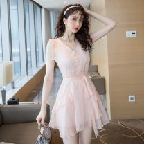 Dress Summer 2021 Black, apricot pink S,M,L,XL Short skirt singleton  Sleeveless commute V-neck High waist Solid color Socket A-line skirt Others 18-24 years old Type A Korean version w2.27 Chiffon