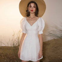Dress Summer of 2018 white XS S M L XL XXL Short skirt singleton  Short sleeve commute V-neck High waist Solid color zipper A-line skirt puff sleeve 25-29 years old Type A Origin sense / gate of perception lady Z18XQ00221 More than 95% polyester fiber Polyester 100% Pure e-commerce (online only)